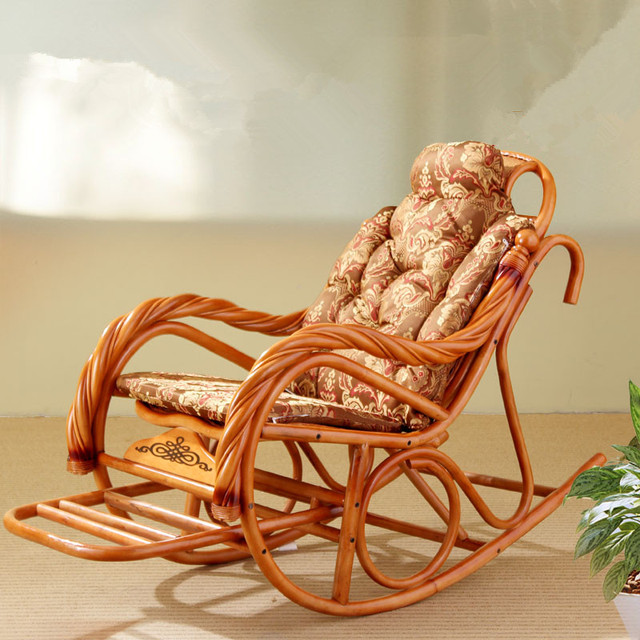 Luxury Rocking Chair With Cushions Rattan Wicker Furniture Indoor Living  Room Glider Recliner Modern Rattan Easy