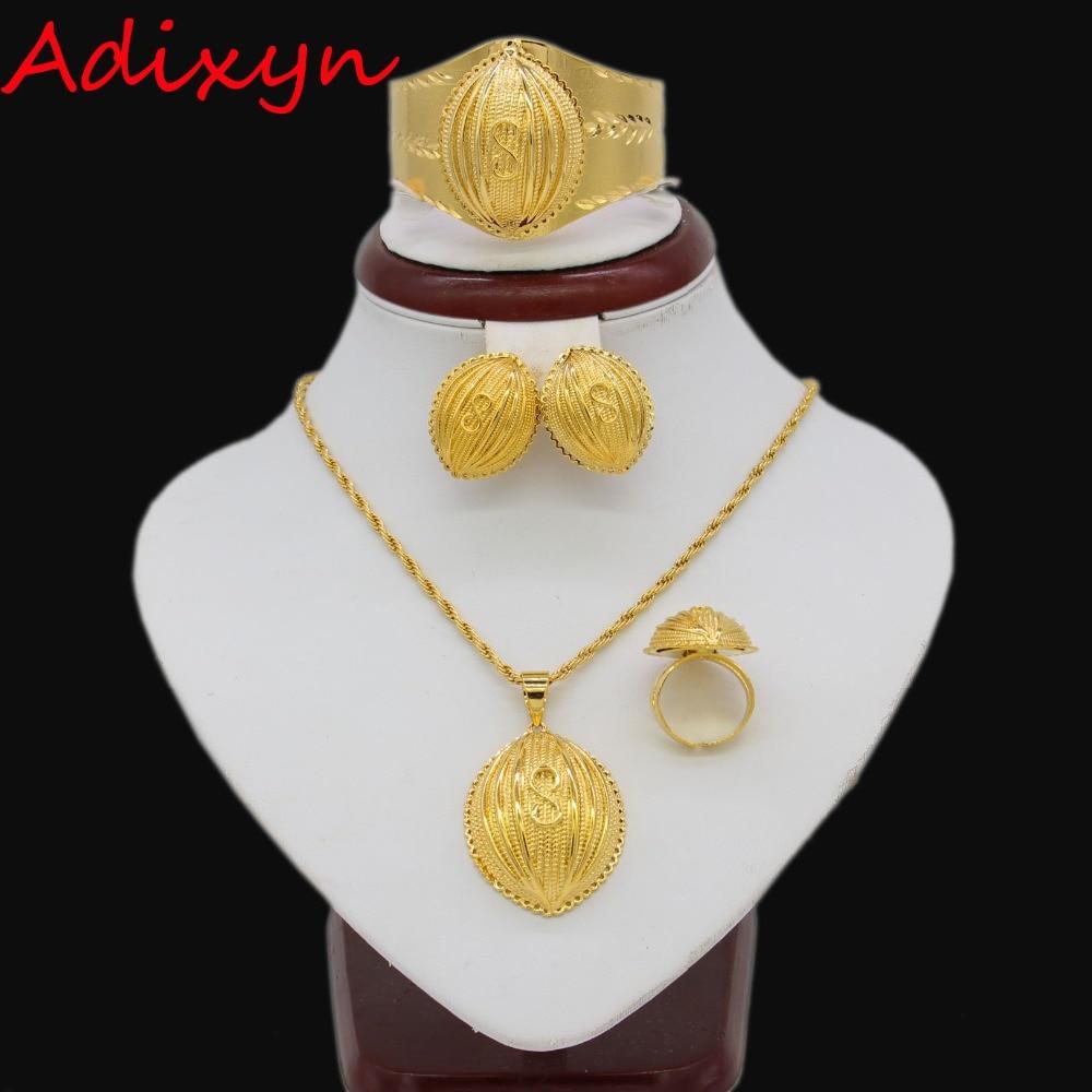 Adixyn Eight Ethiopian Jewelry sets Gold Color Eritrean Engagement/Bride Wedding Jewelry Habesha African Sudan ItemAdixyn Eight Ethiopian Jewelry sets Gold Color Eritrean Engagement/Bride Wedding Jewelry Habesha African Sudan Item