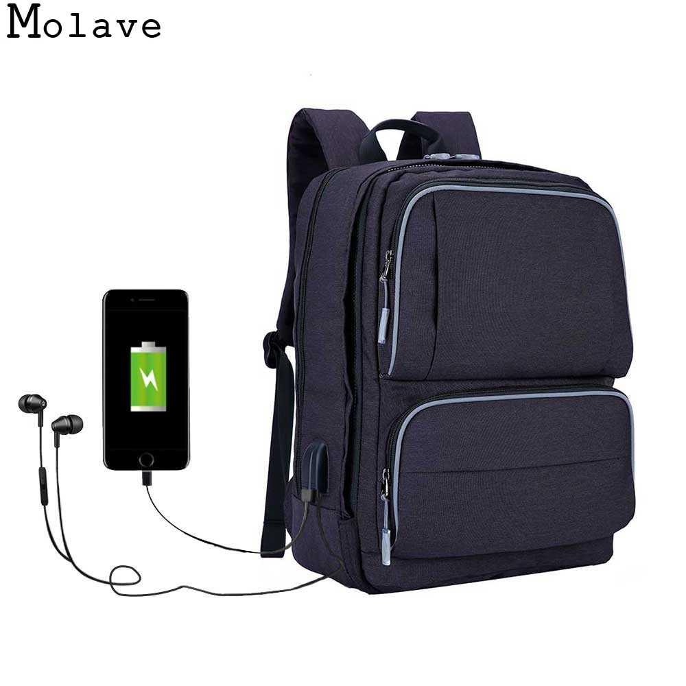 MOLAVE Backpacks business shoulder bag USB charging 17.3-inch laptop school bag Arcuate Shoulder Strap Backpacks Dec11