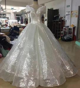 Image 3 - Glitter Mix Sequined Ball Gown Evening Dress Dubai Arab Off Shoulder Evening Gowns Robe De Soiree
