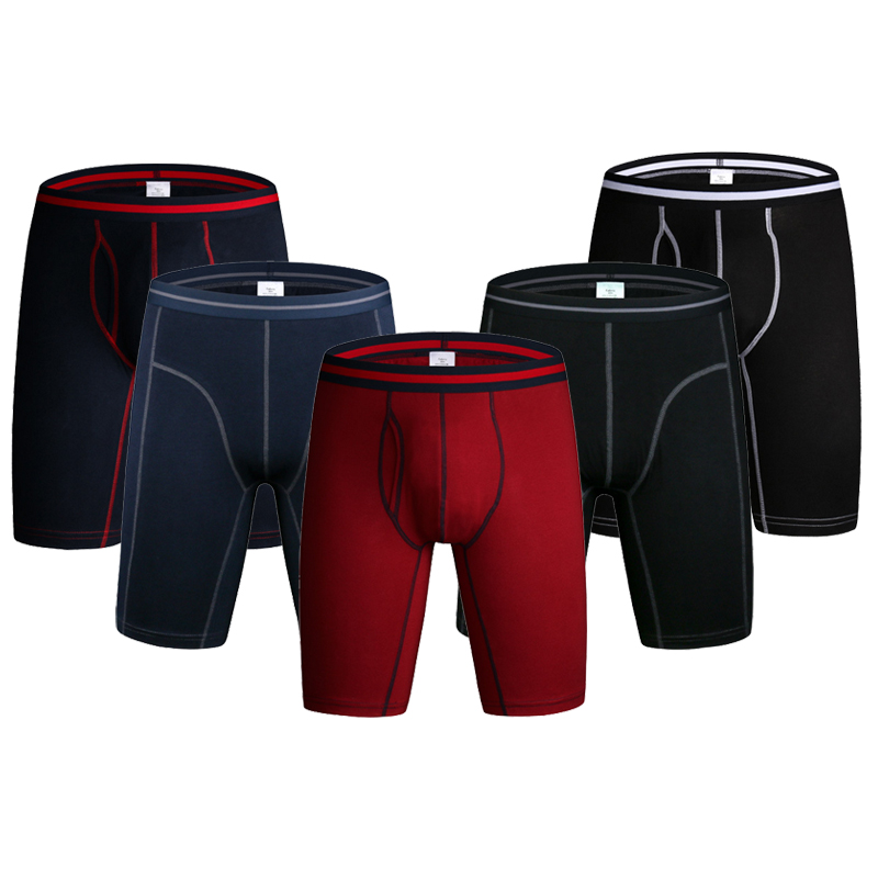 2pcs/lot Long Boxer Men Underpants Mens Underwear Man Long Sport Boxer Men Cotton Solid Sports Shorts Male U-convex Soft Boxers