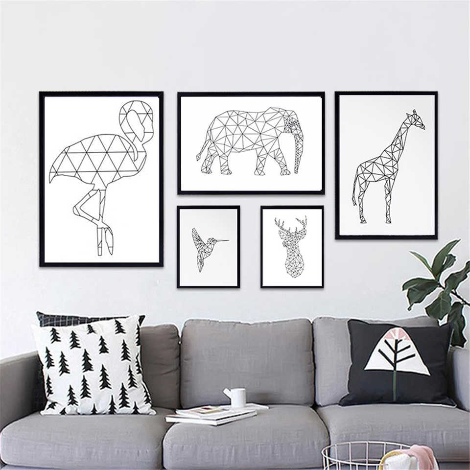 Home Decor Prints Painting Abstract Geometric Deer Fox Elephant Nordic Posters Pictures Wall Art Modular Canvas Modern Kids Room