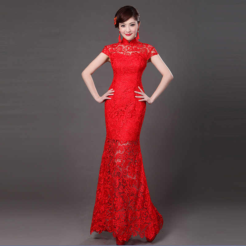 03ce2239a Classic Red Lace Qipao Chinese Women Party Dress Vintage Female Full Length  Mermaid Dress Traditional Lady