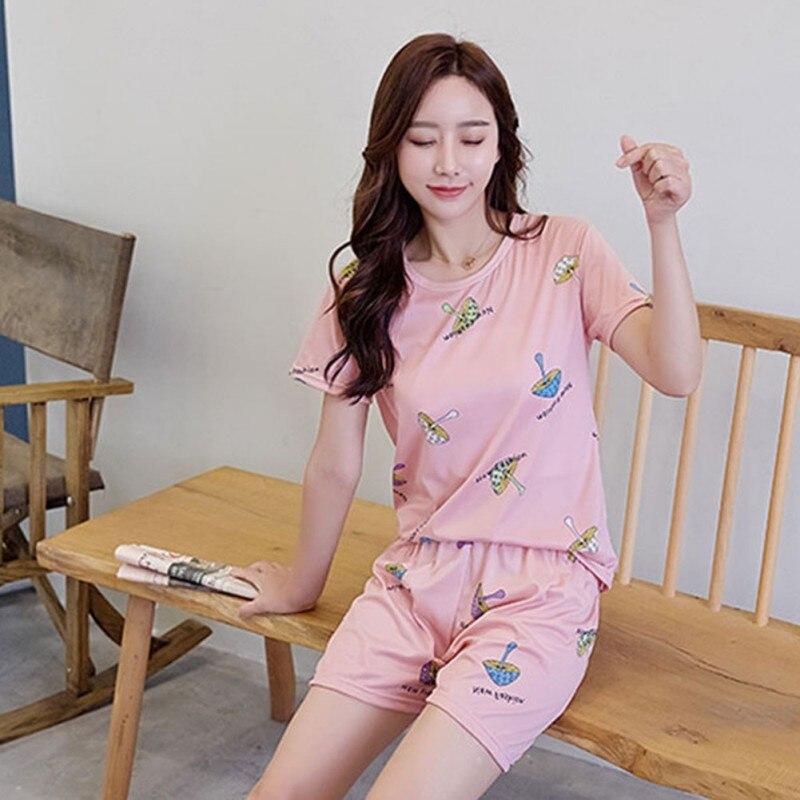 2019 Summer Short Sleeve   Pajama     Set   Print Sleepwear Women   Pajamas   T-shirt Short   Set   Nightwear
