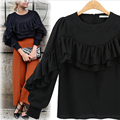 [TWOTWINSTYLE] Spring Pleated Ruffles Long Sleeve Casual T shirt Women New Fashion Clothing