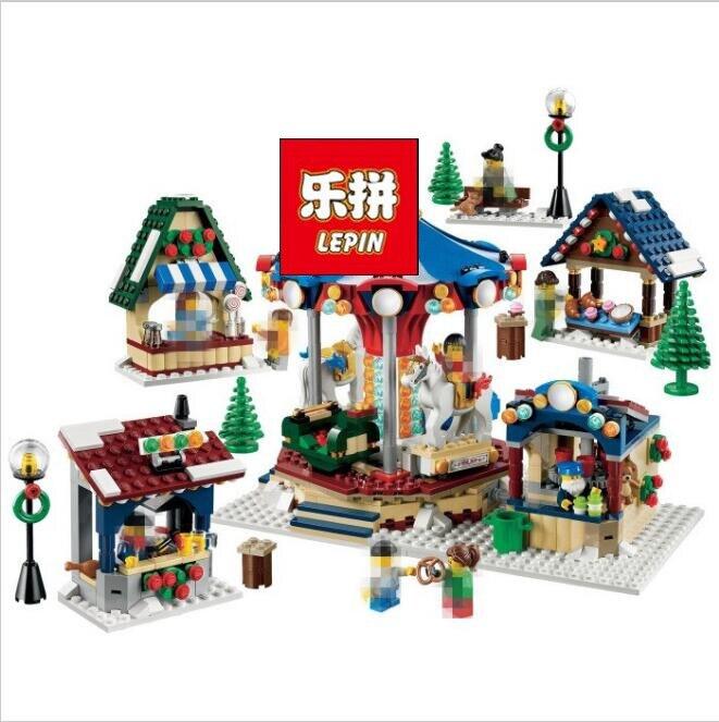 Lepin 36010 in stock 1412pcs Winter Village Market Carousel Model Building Blocks Bricks Christmas Toys 10235 halil  kiymaz market microstructure in