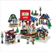 Lepin 36010 in stock 1412pcs Winter Village Market Carousel Model Building Blocks Bricks Christmas Toys 10235