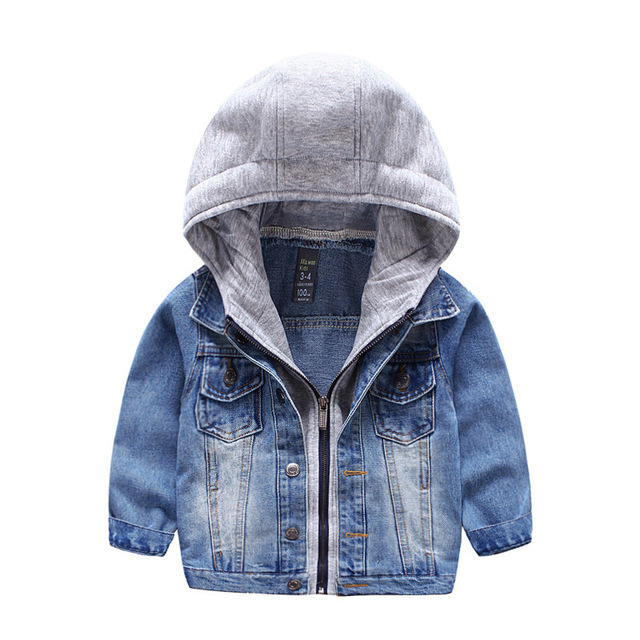 2017 Baby Bebe Boys Kids Toddler Children Denim Cowboy Hoodie Coat Outwear Costume Clothes 3-7 Years Hoodies Clothing Wholesale