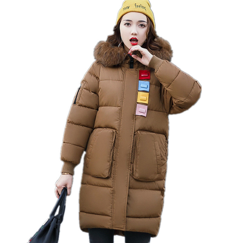 Plus Size 3XL Winter Jacket Women Coat Long Parka Fur Collar Thick Female Warm Cotton Overcoat Hood Padded Jacket TT2916 winter women fashion long thick warm 100%cotton filling jacket women plus size fur raccoon collar slim coat overcoat parka