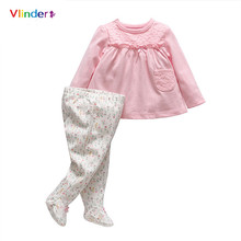 Vlinder 2017 New 2pcs Cotton Sweet Infant Sets Casual Baby Girls Spring Autumn Long Sleeves Lace Pocket T Shirt Floral Trousers