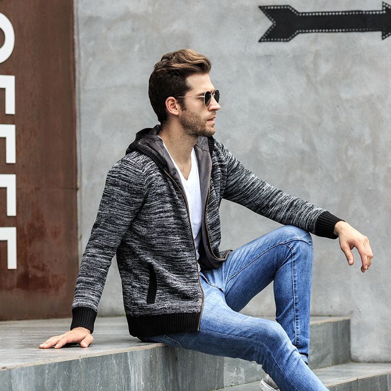 QUANBO New Mens Autumn Winter Thick Hooded Knitted Sweater Coat  Top Quality Fashion Cardigan Sweater Casual Brand Clothing