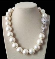 Prett Lovely 20mm Big Sweater chain Genuine White South Sea Shell Pearl Round Beads Necklace Women Gift word 925 silver jewelry
