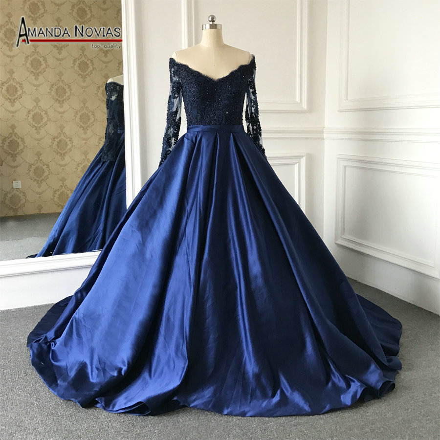 Blue Wedding Dresses 2019: 2019 Charming Navy Blue Long Sleeve Satin With Lace