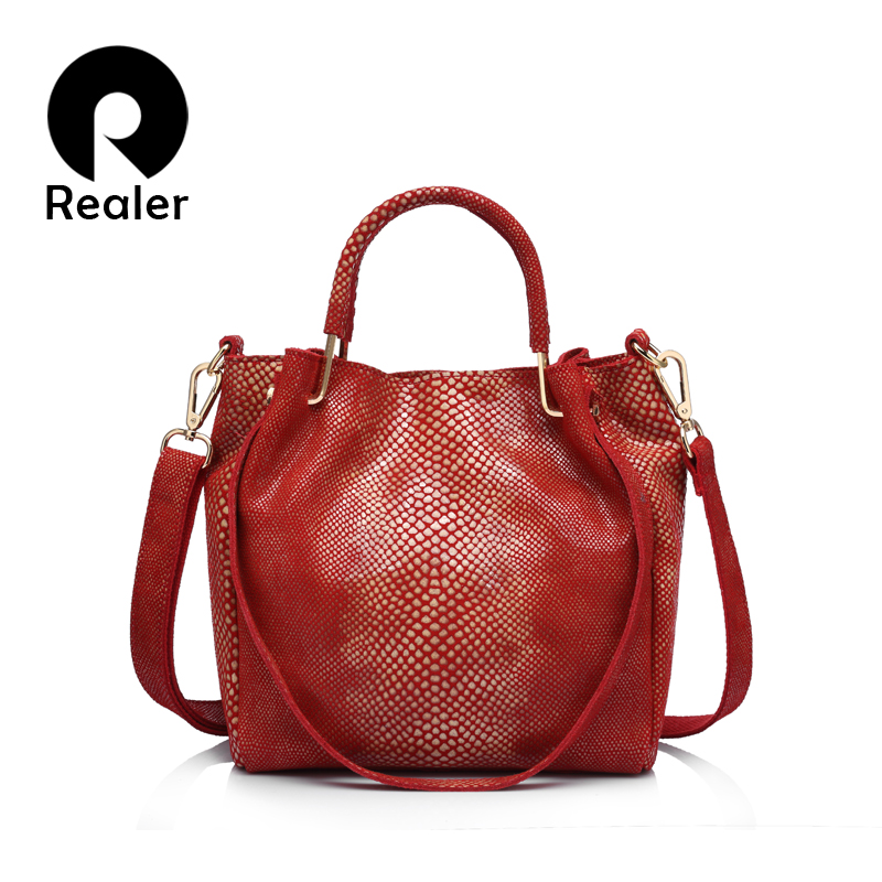 REALER brand women genuine leather handbag casual shoulder bag female gold python pattern leather tote bag