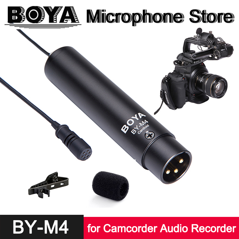 BOYA BY-M4C BY-M4OD Professional Clip-On Lavalier Condenser Microphone for Canon Nikon Sony Panasonic Camcorder Audio Recorder