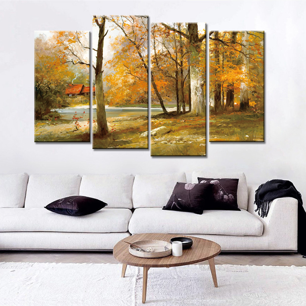 4 panels modern wall painting oil painting autumn canvas for Modern home decor wall art