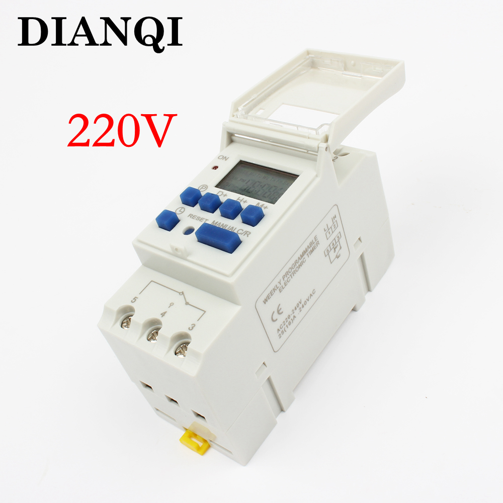 Electronic Weekly 7 Days Programmable Digital TIMER SWITCH Relay Control 220V 230V 6A 10A 16A 20A 25A 30A Din Rail tp8a16 DIANQI intermatic ej500 digital 4 amp astronomic electronic switch 7 day timer 2 pack