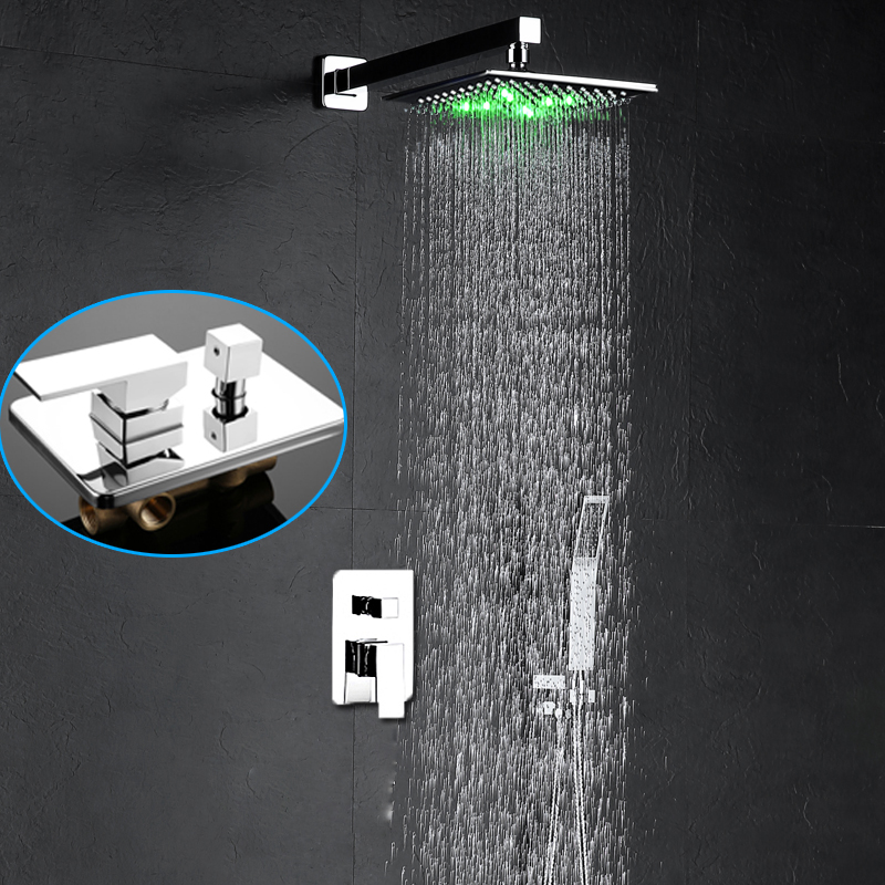 "Modern 8/"" LED Shower Head Bathroom Rainfall Shower Complete Faucet Shower Set"