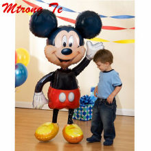 Mickey Minnie Balloons Large Giant 112cm Big Red Bowknot Standing Mouse Airwalker Balloons for Kids Birthday Party Decorations(China)
