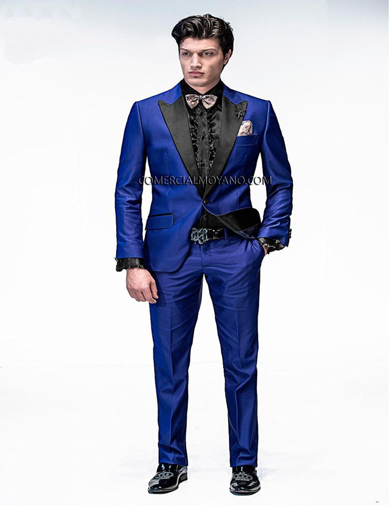 Hot sale 2018 custom men wedding suit blue suit with black for Custom suits and shirts