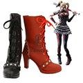 Batman Harley Quinn Arkham Knight Zapatos de Fiesta Cosplay Mujeres Corto Negro y Rojo Botas De Lujo Por Encargo
