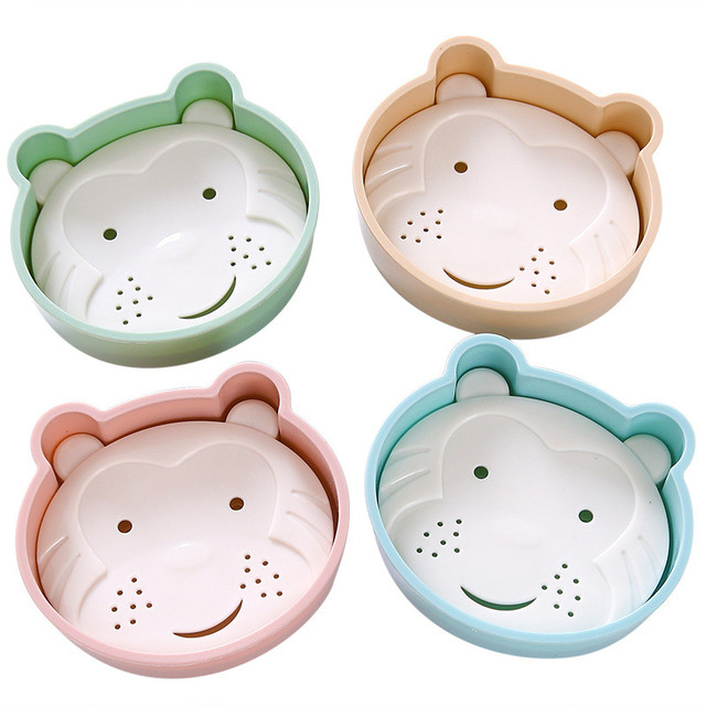 Cute Bear Bathroom Soap Dish Portable Drain Soap Storage Box Bathroom  Accessories Products Dishes Plastic Storage
