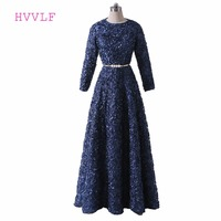 Navy Blue 2018 Muslim Evening Dresses A line Long Sleeves Lace Sash Islamic Dubai Abaya Kaftan Saudi Arabia Long Evening Gown