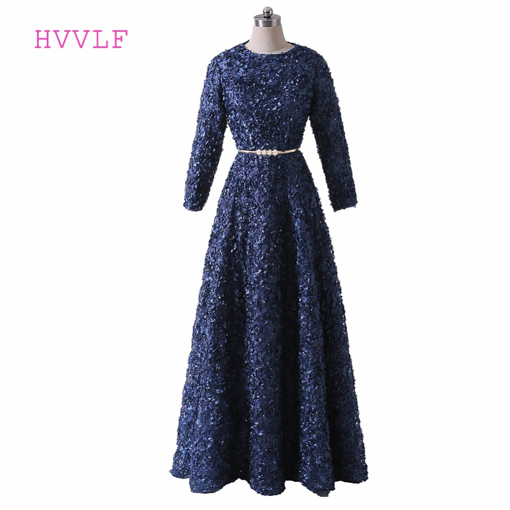 Navy Blue 2019 Muslim   Evening     Dresses   A-line Long Sleeves Lace Sash Islamic Dubai Abaya Kaftan Saudi Arabia Long   Evening   Gown