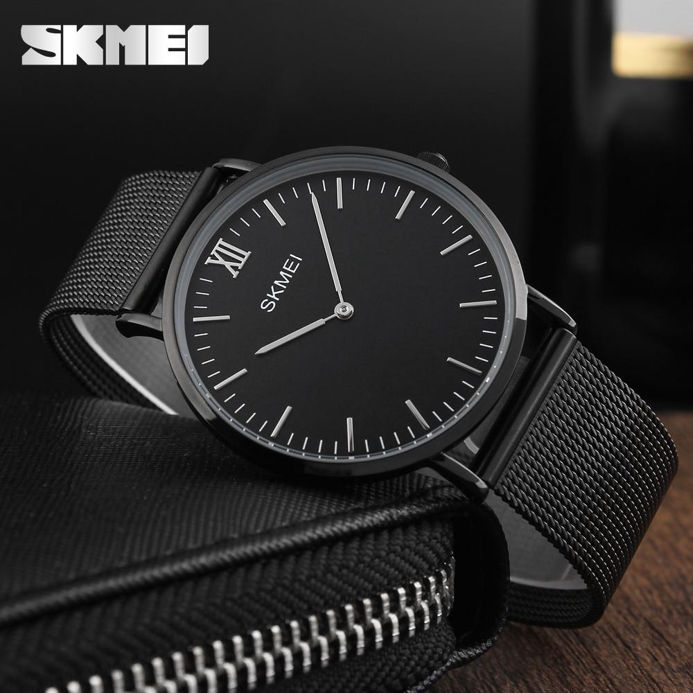 Prix pour Hommes Montres SKMEI Top Marque De Luxe 30 M Étanche Ultra Mince horloge Mâle Bracelet En Acier Casual Quartz Montre Hommes Sport Poignet montre