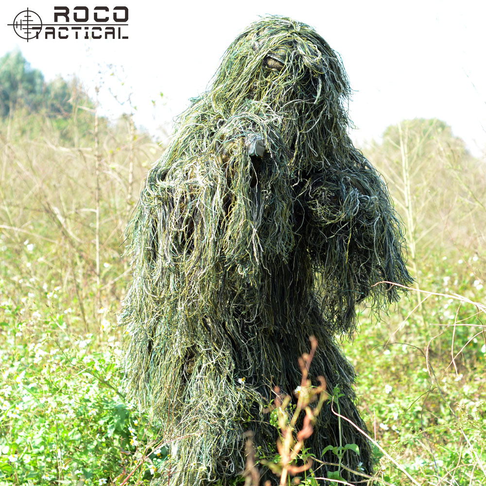 Free Shipping US Army Bionic Sniper Ghillie Suits Camouflage Grass Burlap Hunting Recon Yowie Suit Paintball Military Clothing military camouflage ghillie suit woodland grass hay style paintball leaf jungle sniper clothes hunting tactical shade clothing