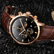 лучшая цена New LIGE Fashion Casual Leather Mens Watches Top Brand Luxury Gold Clock Male Mliltary Waterproof Quartz Wristwatch For Men+Box