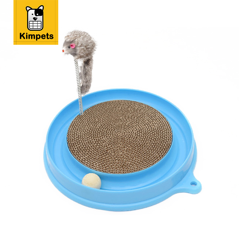 KIMHOME PET Bergan Turbo Scratcher Cat Toy With Mouse Handmade Cats Kitten Scratcher Training Toy Interactive Cat Play Ball Toys