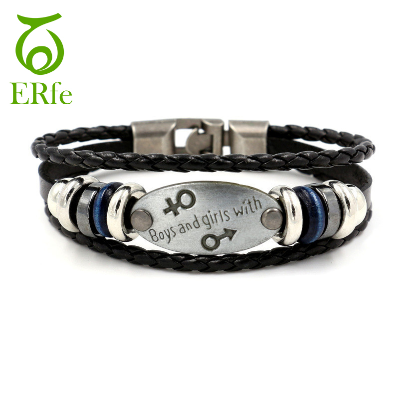 ER Vintage Gay Pride Leather Bracelet Femme Male Woven Friendship Bracelets Female LGBT Braslet Women Hand Accessories LB240