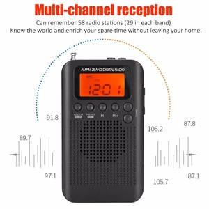 Image 2 - JINSERTA Portable Mini FM/AM Radio Speaker Music Player with Alarm Clock LCD Digital Display Support Battery and USB Powered