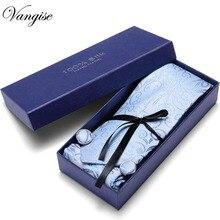 Gif box Men Tie Set Classic Polyester Silk Business Wedding floral Dots Paisley Ties Handkerchief Sets Pocket Square Necktie