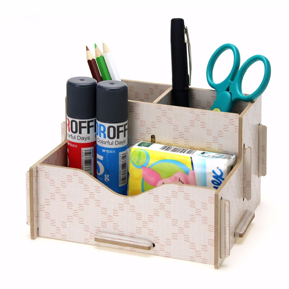 Creative Wood Desktop Office Stationery Collection Box Living Room Sundry Receive Box for Remote control/scissors/pen