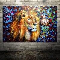 Obraz malowany Na Płótnie Malarstwo Pokojowe Dekoracji Obrazy Na Ścianie Nowoczesny lew Zwierząt Obraz Olejny Oprawione Płótno Ściana