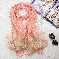 Four seasons salvaje de las mujeres nuevo color puro de la bufanda de seda Ligero y fino hilo de oro de las señoras bufanda de la bufanda de Regalo