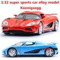 1:32 aleación de coches, Koenigsegg alta simulación modelo de coche, metal a troquel, automóviles de juguete, tire hacia atrás de moviles y musicales, envío libre