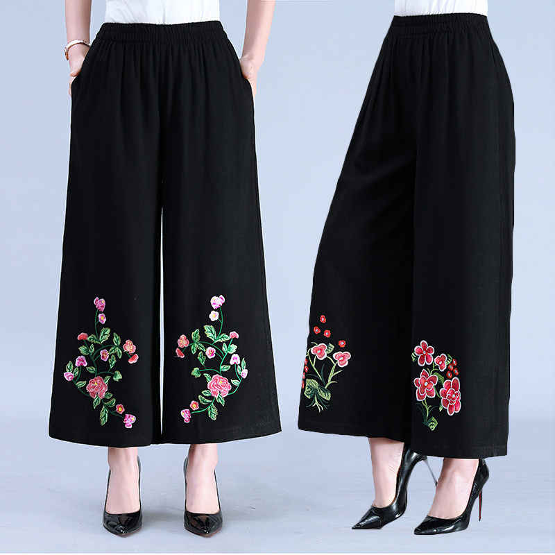 Embroidery Cotton and Linen Women Pants 4XL 2019 Casual Fashion Nine Trousers Elastic Waist Wide Leg Pants Summer Jupe f891