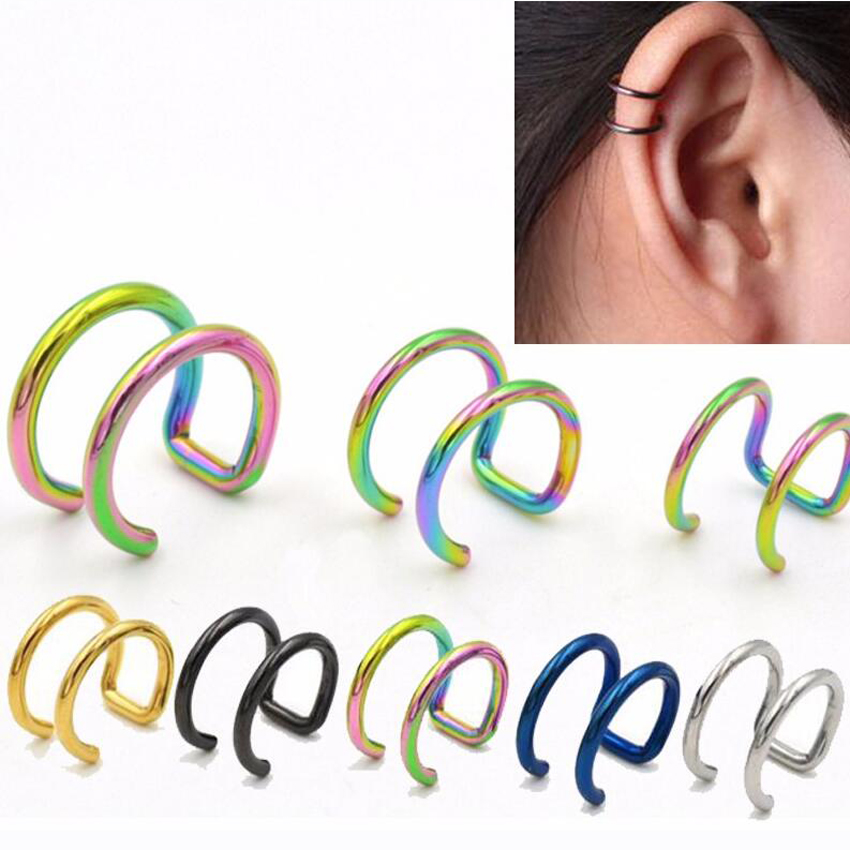 2 Pieces Clip On Wrap Earring Tragus Stainless Steel 2 Rings Ear Cuff Clip Women Men Fake Body Piercing Jewelry