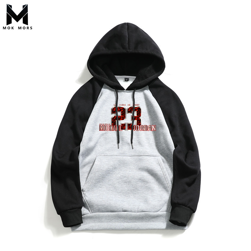 Sweatshirts Men Hooded Letter Spring Stitching Long-Sleeve Cotton Fashion-Brand Wild