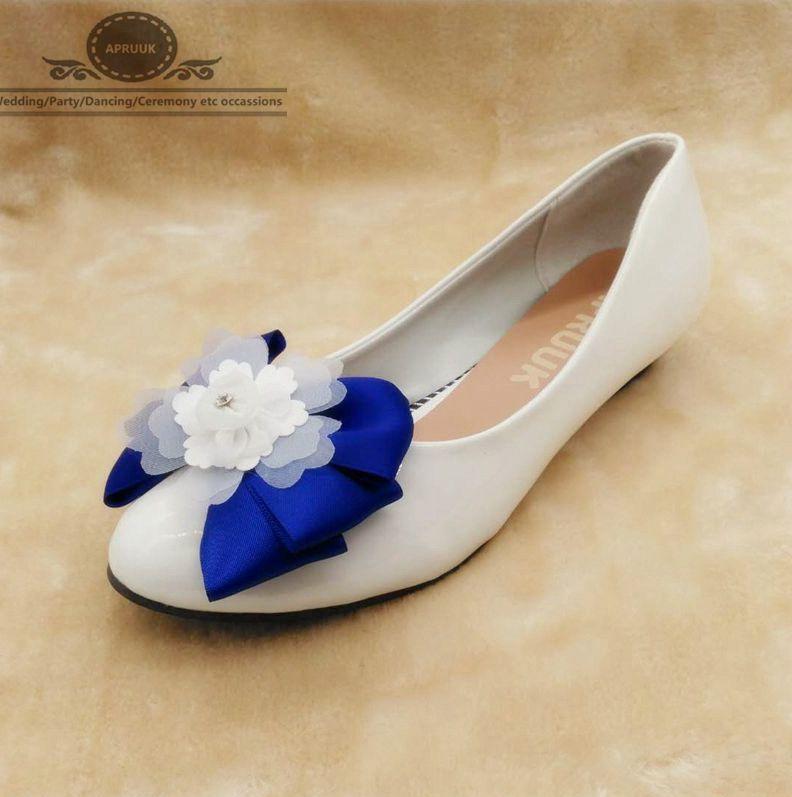 Wedges 3cm low heel royal blue bowtie