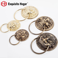 Classical Brass Knocker Beast Head Lion Head Tiger Copper Handle Antique Door Lock Handle Cyclamic Ring Decorative Fittings