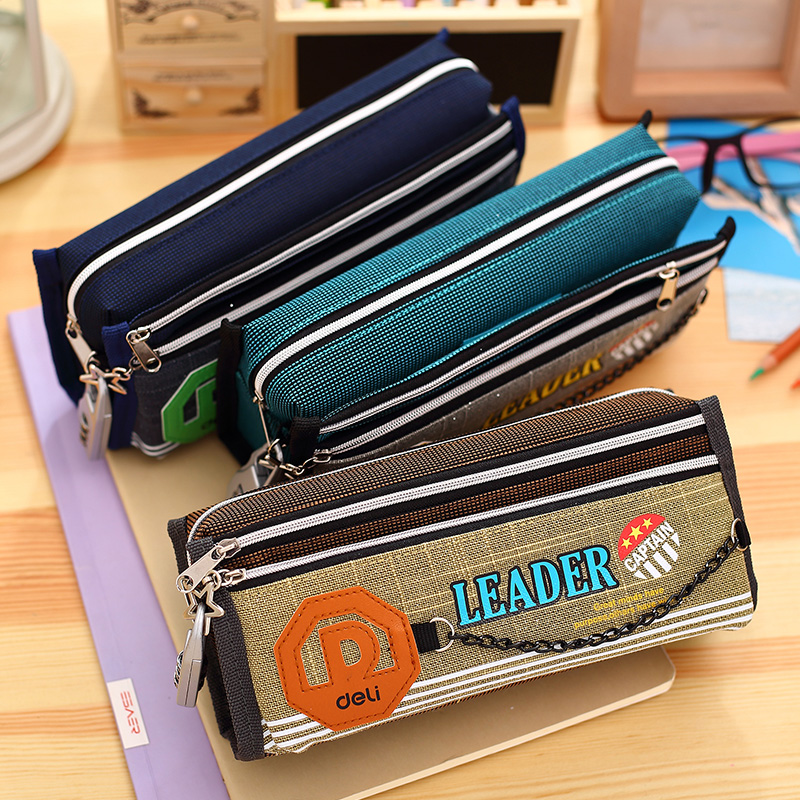 Fashion Morse Code Durable Canvas Fabric Pen Pencil Pouch Bag with A Small Lock Double Zipper Large Capacity Storage Pencil Case цена