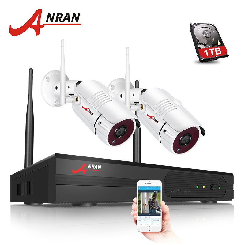 ANRAN 4CH WIFI Wireless Camera IP Security Camera Kit 1080P HD 2PCS CCTV Camera System Outdoor Waterproof Home Security System