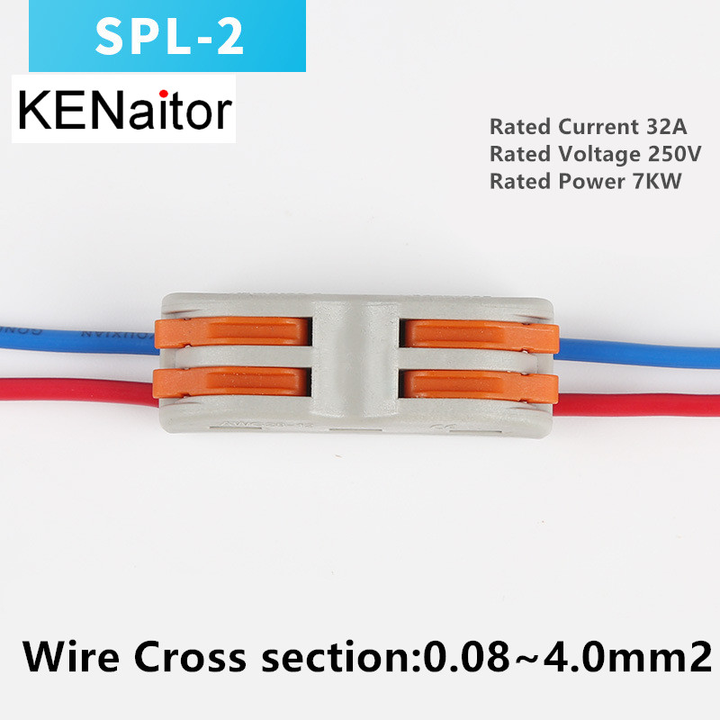New design 2 pin 10pcs SPL-2 type Universal Compact Wire Connector  Conductor Terminal block with lever 10 pieces lot 222 413 universal compact wire wiring connector 3 pin conductor terminal block with lever awg 28 12