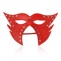 Black/Red leather blindfold face mask cosplay couples flirt bdsm bondage leak eye hood mask adult games sex toys for woman men