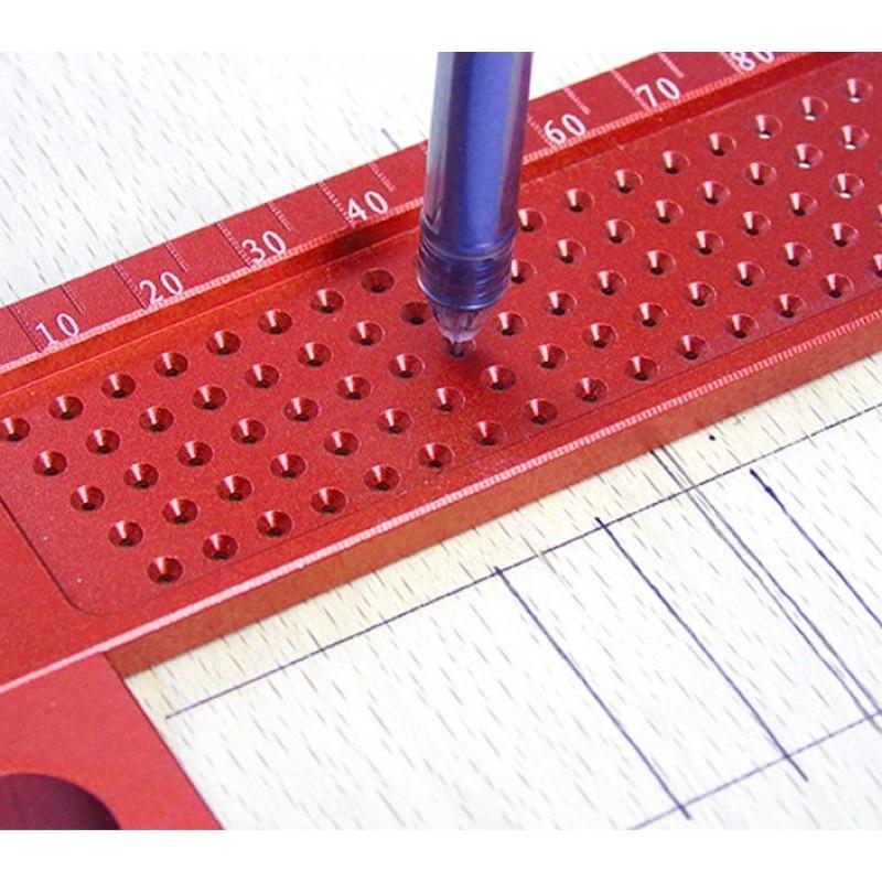 Деревообрабатывающий писец 160 мм Т-образная линейка Дырокол Scribing Gauge алюминиевый скрещенный стопой деревообрабатывающий скрещенный инструмент измерительный инструмент
