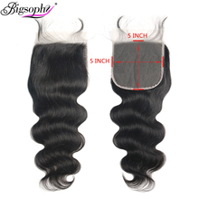 Bigsophy Hair 5x5 Lace Closure Body Wave Brazilian Free Part 100% Human Remy Natural Color With Baby